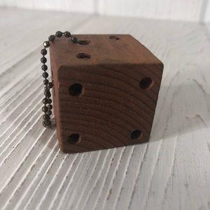 """Vintage OOAK Wood Dice Die Key Chain 1 3/8"""" Cube"""